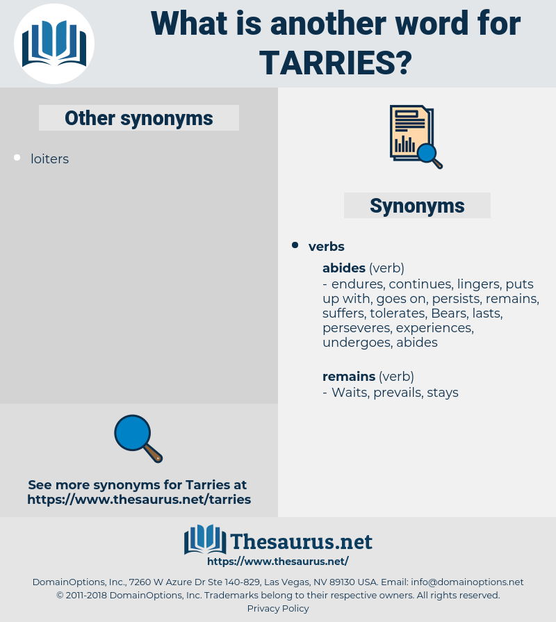 tarries, synonym tarries, another word for tarries, words like tarries, thesaurus tarries