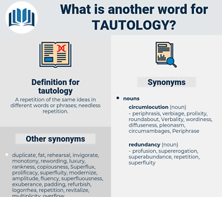 tautology, synonym tautology, another word for tautology, words like tautology, thesaurus tautology
