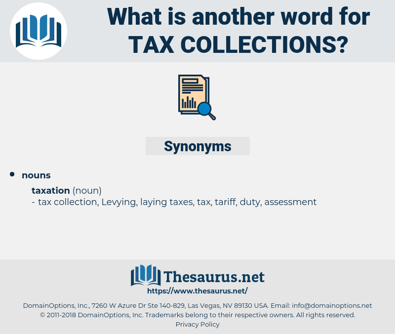 tax collections, synonym tax collections, another word for tax collections, words like tax collections, thesaurus tax collections
