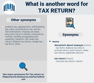 tax return, synonym tax return, another word for tax return, words like tax return, thesaurus tax return