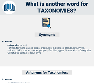 Taxonomies, synonym Taxonomies, another word for Taxonomies, words like Taxonomies, thesaurus Taxonomies