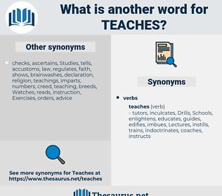 teaches, synonym teaches, another word for teaches, words like teaches, thesaurus teaches