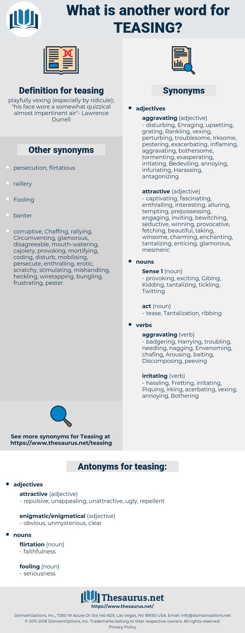 teasing, synonym teasing, another word for teasing, words like teasing, thesaurus teasing