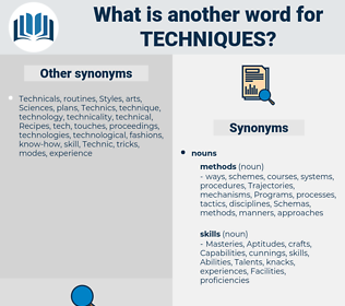 techniques, synonym techniques, another word for techniques, words like techniques, thesaurus techniques