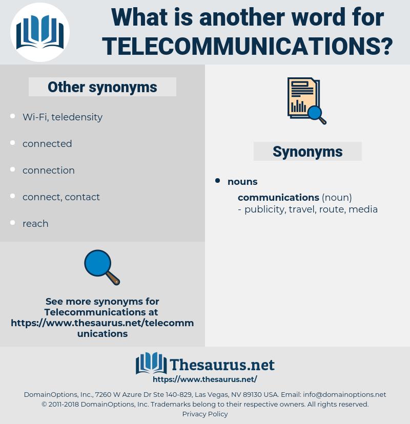 Telecommunications, synonym Telecommunications, another word for Telecommunications, words like Telecommunications, thesaurus Telecommunications