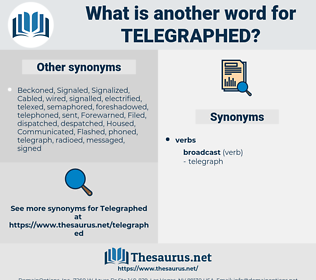 Telegraphed, synonym Telegraphed, another word for Telegraphed, words like Telegraphed, thesaurus Telegraphed