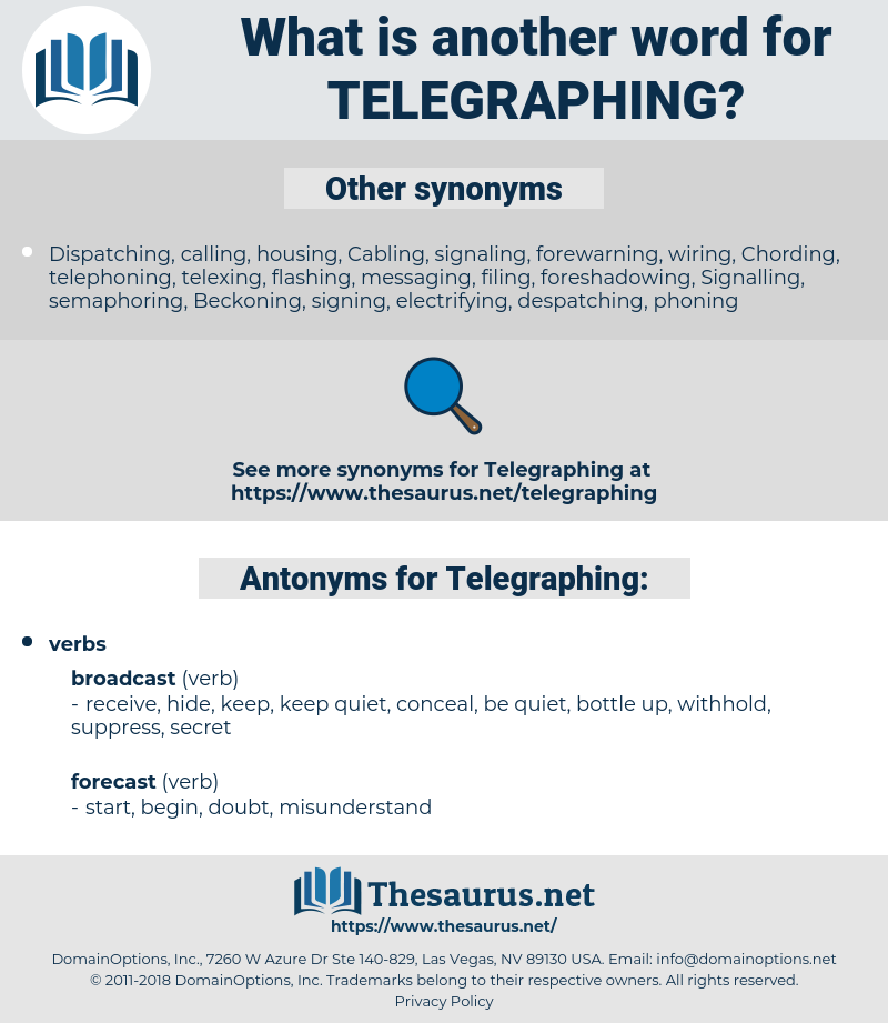 Telegraphing, synonym Telegraphing, another word for Telegraphing, words like Telegraphing, thesaurus Telegraphing