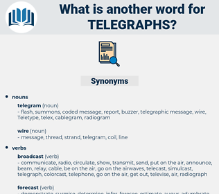 telegraphs, synonym telegraphs, another word for telegraphs, words like telegraphs, thesaurus telegraphs