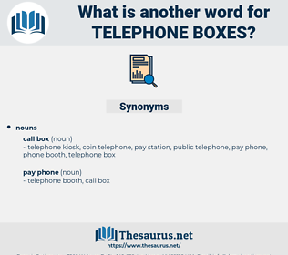 telephone boxes, synonym telephone boxes, another word for telephone boxes, words like telephone boxes, thesaurus telephone boxes