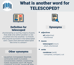 telescoped, synonym telescoped, another word for telescoped, words like telescoped, thesaurus telescoped