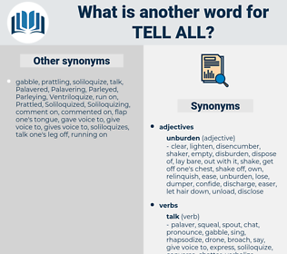 tell all, synonym tell all, another word for tell all, words like tell all, thesaurus tell all