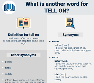 tell on, synonym tell on, another word for tell on, words like tell on, thesaurus tell on
