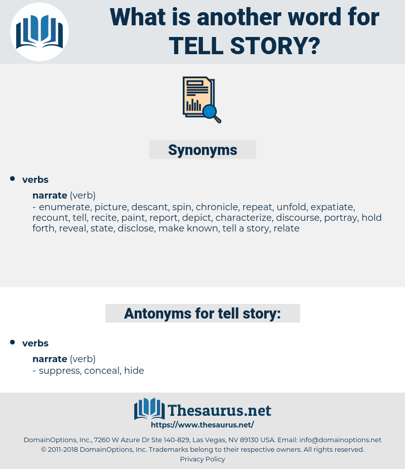 Synonyms for TELL STORY, Antonyms for TELL STORY - Thesaurus net