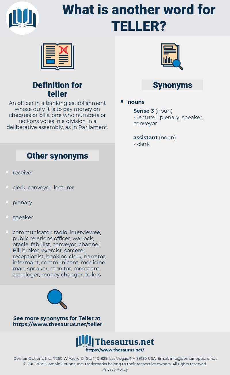 teller, synonym teller, another word for teller, words like teller, thesaurus teller