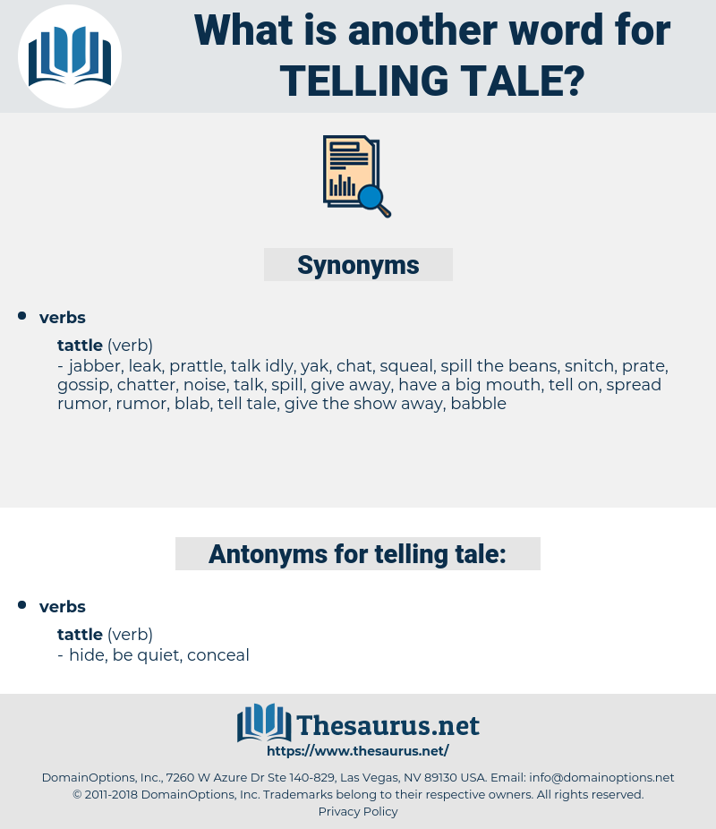 telling tale, synonym telling tale, another word for telling tale, words like telling tale, thesaurus telling tale