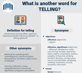 telling, synonym telling, another word for telling, words like telling, thesaurus telling