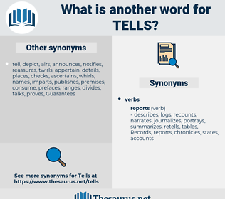 tells, synonym tells, another word for tells, words like tells, thesaurus tells