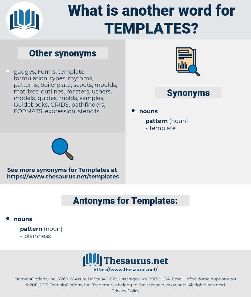 Templates, synonym Templates, another word for Templates, words like Templates, thesaurus Templates