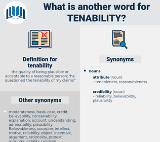 tenability, synonym tenability, another word for tenability, words like tenability, thesaurus tenability