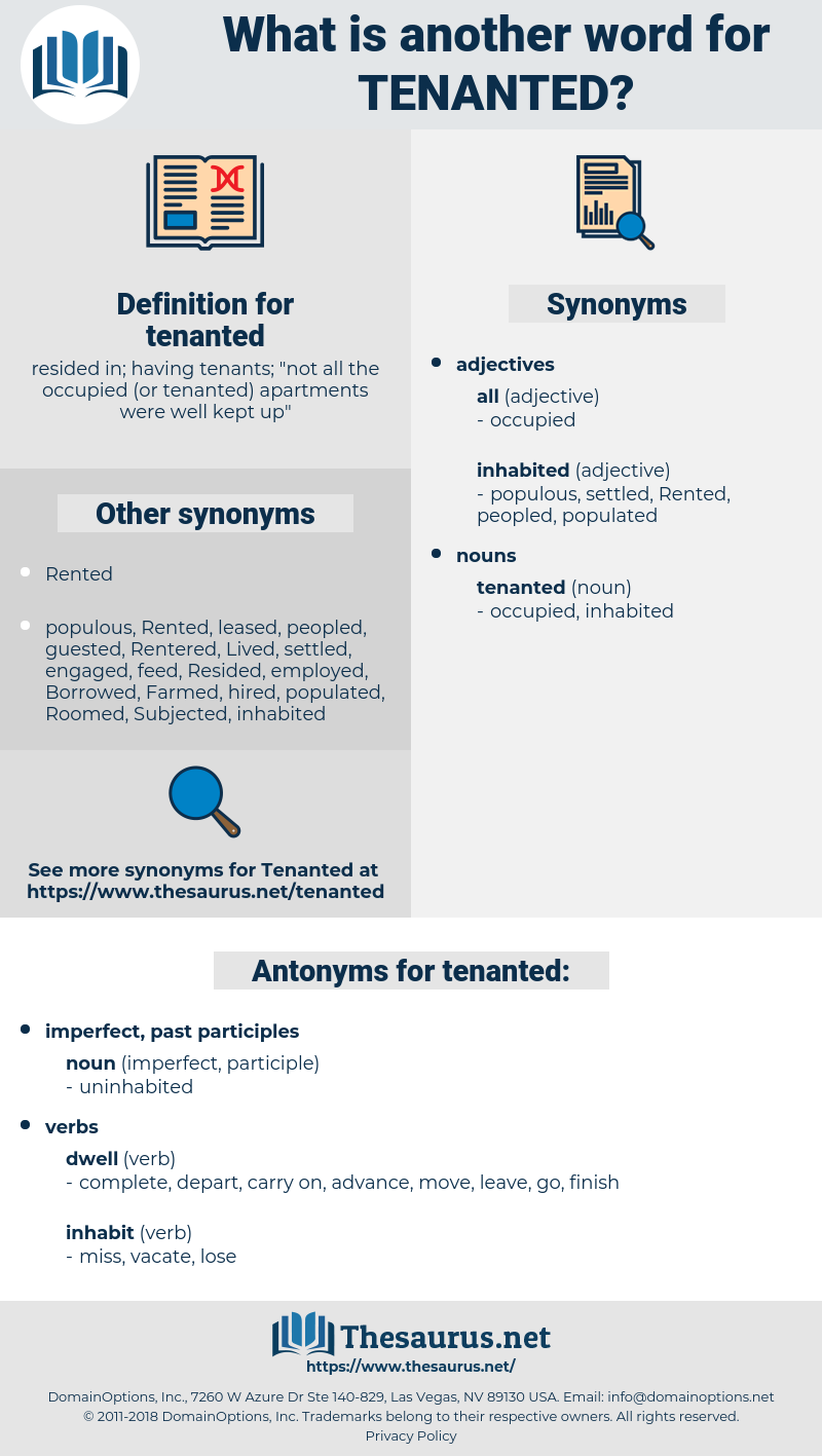 tenanted, synonym tenanted, another word for tenanted, words like tenanted, thesaurus tenanted