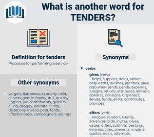 tenders, synonym tenders, another word for tenders, words like tenders, thesaurus tenders