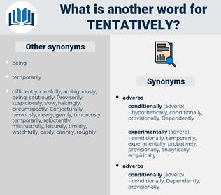 tentatively, synonym tentatively, another word for tentatively, words like tentatively, thesaurus tentatively