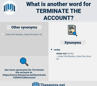 terminate the account, synonym terminate the account, another word for terminate the account, words like terminate the account, thesaurus terminate the account