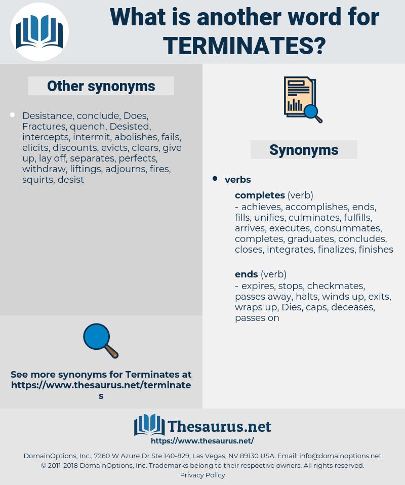 terminates, synonym terminates, another word for terminates, words like terminates, thesaurus terminates