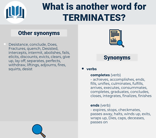 terminates, synonym terminates, another word for terminates, words like terminates, thesaurus terminates