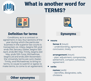 terms, synonym terms, another word for terms, words like terms, thesaurus terms