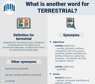 terrestrial, synonym terrestrial, another word for terrestrial, words like terrestrial, thesaurus terrestrial