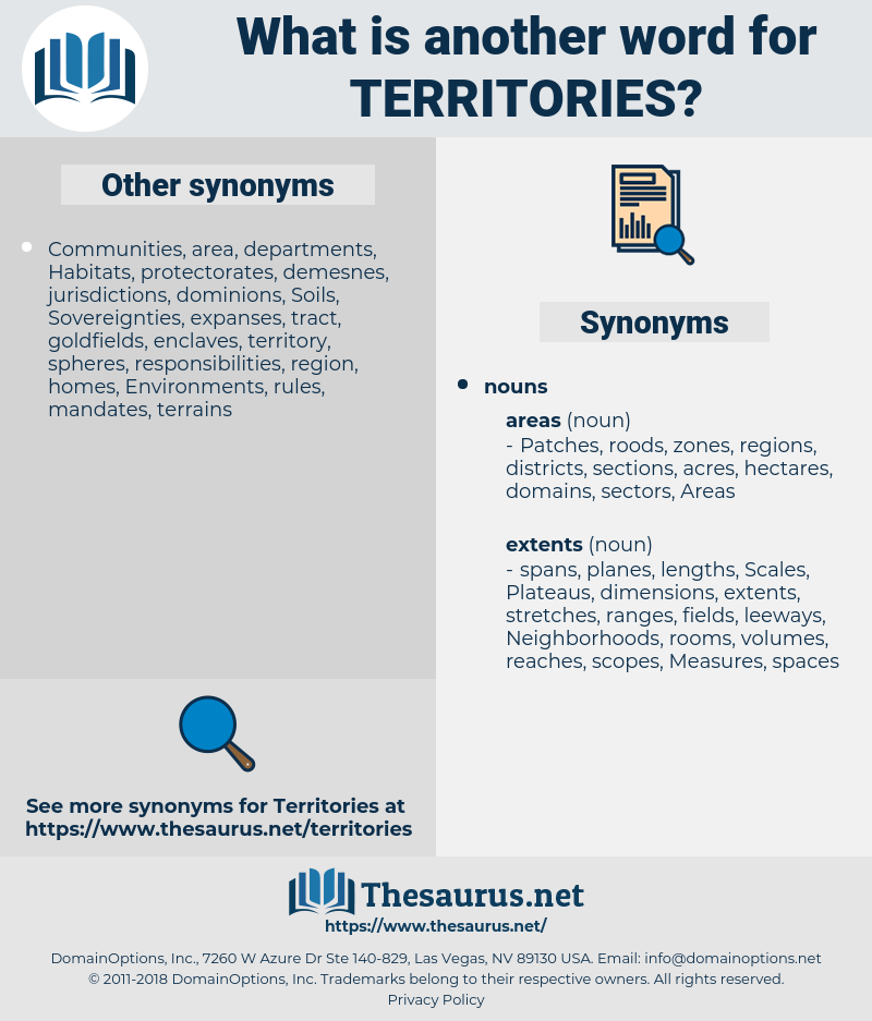 Territories, synonym Territories, another word for Territories, words like Territories, thesaurus Territories