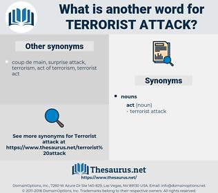 terrorist attack, synonym terrorist attack, another word for terrorist attack, words like terrorist attack, thesaurus terrorist attack