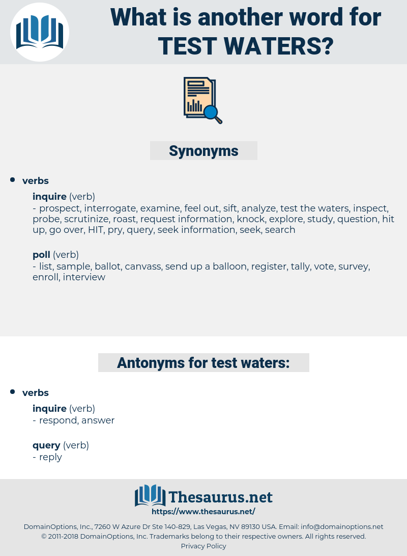 test waters, synonym test waters, another word for test waters, words like test waters, thesaurus test waters