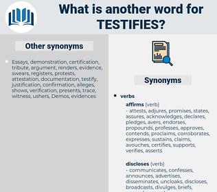 testifies, synonym testifies, another word for testifies, words like testifies, thesaurus testifies