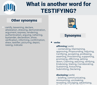 Testifying, synonym Testifying, another word for Testifying, words like Testifying, thesaurus Testifying
