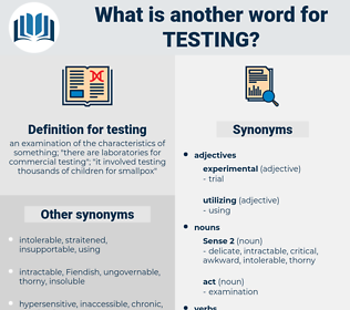testing, synonym testing, another word for testing, words like testing, thesaurus testing