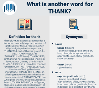 thank, synonym thank, another word for thank, words like thank, thesaurus thank