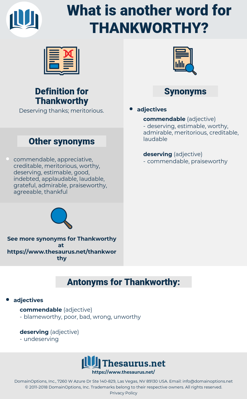 Thankworthy, synonym Thankworthy, another word for Thankworthy, words like Thankworthy, thesaurus Thankworthy