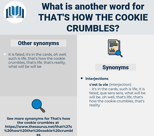 that's how the cookie crumbles, synonym that's how the cookie crumbles, another word for that's how the cookie crumbles, words like that's how the cookie crumbles, thesaurus that's how the cookie crumbles