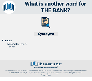 the bank, synonym the bank, another word for the bank, words like the bank, thesaurus the bank