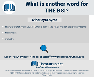 the BSI, synonym the BSI, another word for the BSI, words like the BSI, thesaurus the BSI
