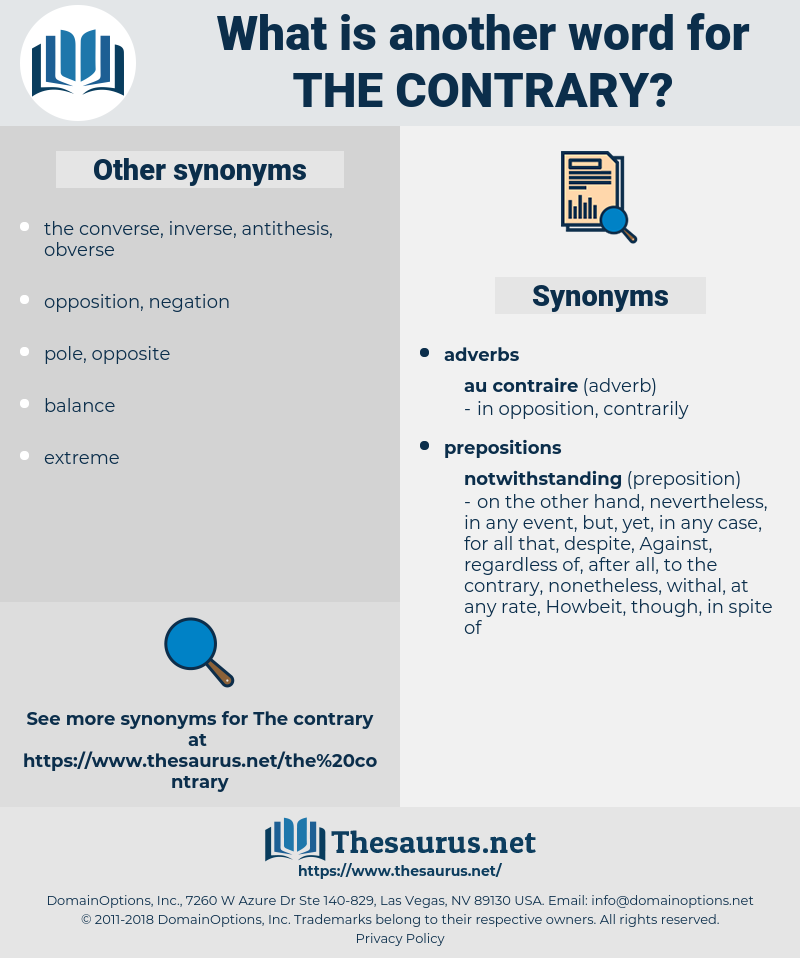 the contrary, synonym the contrary, another word for the contrary, words like the contrary, thesaurus the contrary