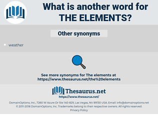 the elements, synonym the elements, another word for the elements, words like the elements, thesaurus the elements