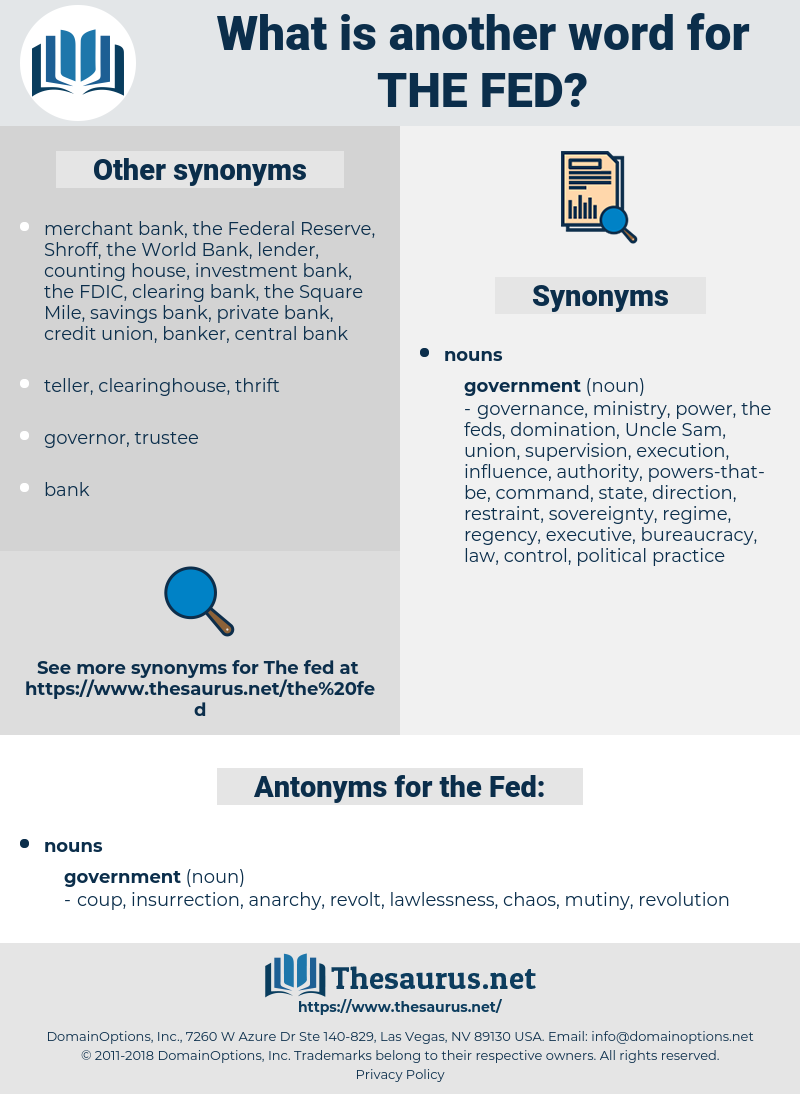 the Fed, synonym the Fed, another word for the Fed, words like the Fed, thesaurus the Fed