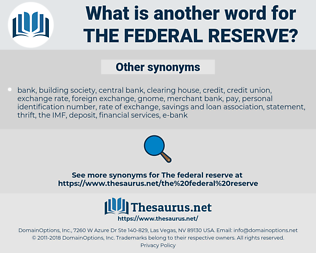 the Federal Reserve, synonym the Federal Reserve, another word for the Federal Reserve, words like the Federal Reserve, thesaurus the Federal Reserve