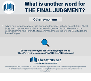 the final judgment, synonym the final judgment, another word for the final judgment, words like the final judgment, thesaurus the final judgment