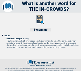 the in-crowds, synonym the in-crowds, another word for the in-crowds, words like the in-crowds, thesaurus the in-crowds
