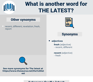 the latest, synonym the latest, another word for the latest, words like the latest, thesaurus the latest