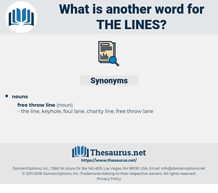 the lines, synonym the lines, another word for the lines, words like the lines, thesaurus the lines